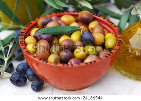 Olives of the Mediterranean. - stock photo