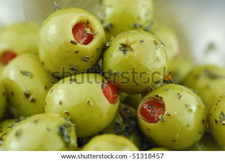 olives stuff with pimento - stock photo