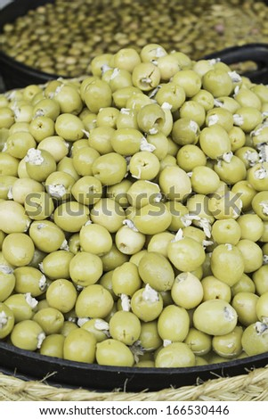 Olives with anchovy food market, food