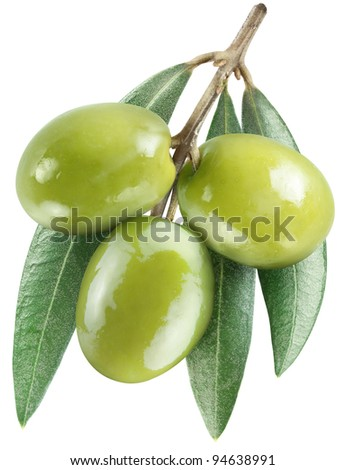 Olives with leaves on a white background.  File contains the path to cut. - stock photo