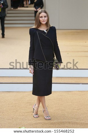 Olivia Palermo at London Fashion Week SS14  - Burberry Prorsum s/s 2014 - Arrivals, London. 16/09/2013 - stock photo