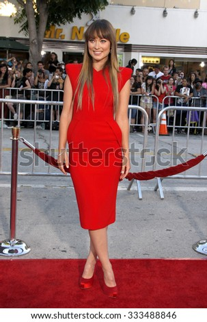 """Olivia Wilde at the Los Angeles Premiere of """"The Change-Up"""" held at the Westwood Village Theater in Los Angeles, California, United States on August 1, 2011.   - stock photo"""