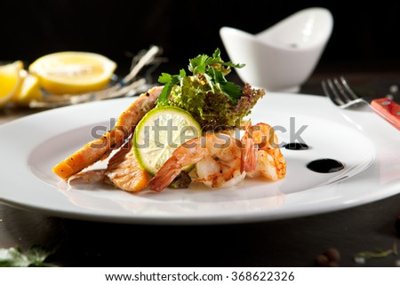 Olivier Salad with Seafood - stock photo