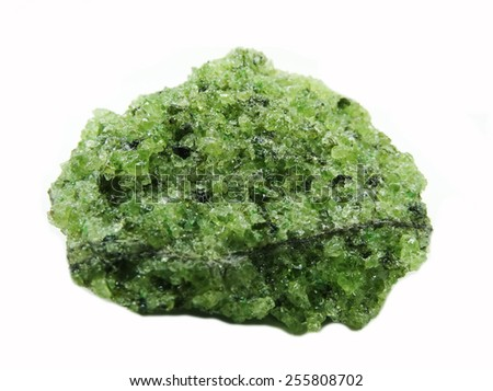 olivine semigem geode crystals geological mineral isolated  - stock photo