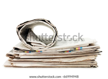 oll of newspapers, isolated on white background - stock photo