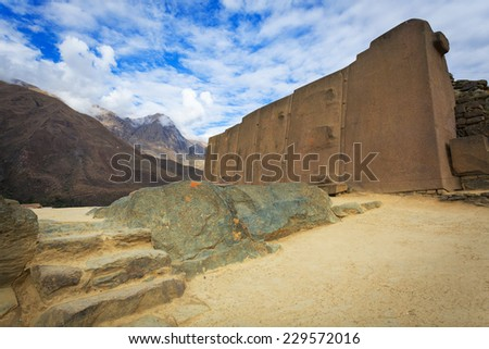 Ollantaytambo, old Inca fortress in the Sacred Valley in the Andes, Cusco, Peru - stock photo