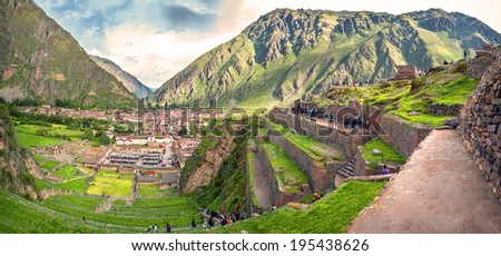 Ollantaytambo, old Inca fortress in the Sacred Valley in the Andes mountains of Cusco, Peru, South America - stock photo
