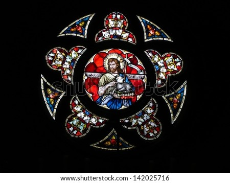 OLOMOUC, CZECH REPUBLIC - MAY 23: Saint John the baptiste - stained glass in St. Wenceslas cathedral, May 23, 2013 in Olomouc, Czech republic - stock photo