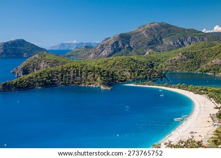 oludeniz lagoon in sea landscape view of beach, Turkey - stock photo