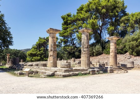 Olympia archaeological site in Greece - stock photo
