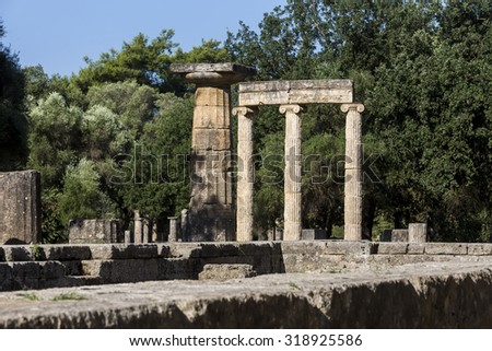 Olympia, birthplace of the Olympic games, in Greece. - stock photo
