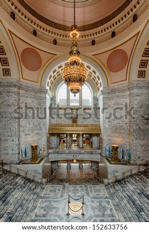 OLYMPIA, WASHINGTON - AUGUST 3: An empty rotunda area of the Washington State Capitol building on August 3, 2013 in Olympia, Washington