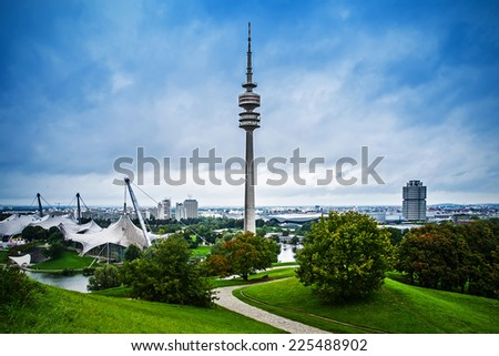 Olympic park with Olympic tower, Munich, Germany - stock photo
