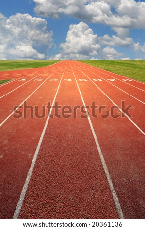 Olympic running track on a sunny day - stock photo