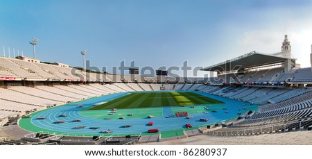 Olympic stadium in Barcelona, Spain. Wide panoramic view - stock photo