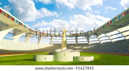 Olympic Stadium with podium for athletes awards - stock photo