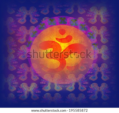 om aum symbol on a grunge texture  - stock photo