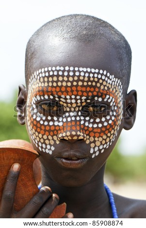 OMA VALLEY, ETHIOPIA - AUG 16: Young Dassanech posing in the village,the ethnic groups in the Omo valley Could disappear Because of Gibe III hydroelectric dam on Aug 16, 2011 in Omo Valley, Ethiopia.