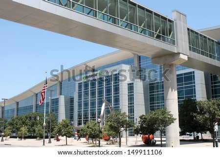 OMAHA, NEBRASKA-JULY 16 2013: The Century Link Center in Omaha, Nebraska is host to many large concerts, conventions, and sporting events each year.