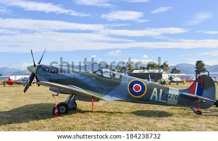 """OMAKA-APRIL 03:British Supermarine Spitfire aircraft on the display during the royal New Zealand air force """"Omaka airshow"""" on April 03, 2013 in Blenheim New Zealand - stock photo"""