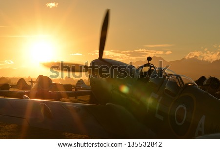 """OMAKA-APRIL 03:Supermarine Spitfire aircraft on the display during the royal New Zealand air force """"Omaka airshow"""" on April 03, 2013 in Blenheim New Zealand - stock photo"""