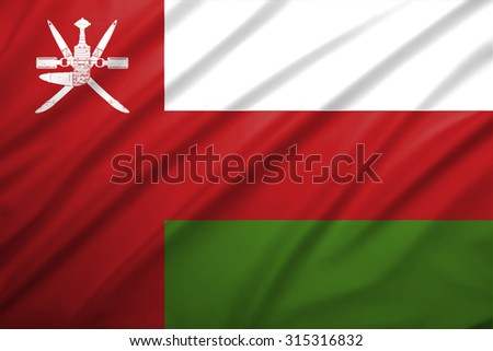 oman flag blowing in the wind. Background texture. - stock photo