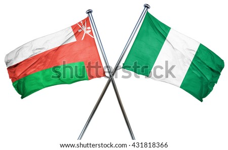Oman flag with Nigeria flag, 3D rendering