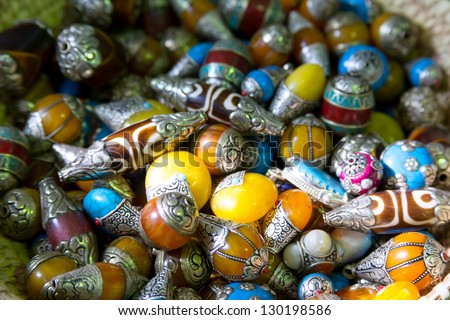 Omani bijoux from silver and different stones - stock photo