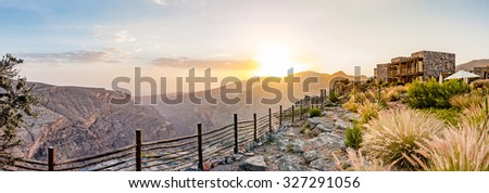 Omani Mountains at Jabal Akhdar in Al Hajar Mountains, Oman at sunset. This place is 2000 meters above sea level.