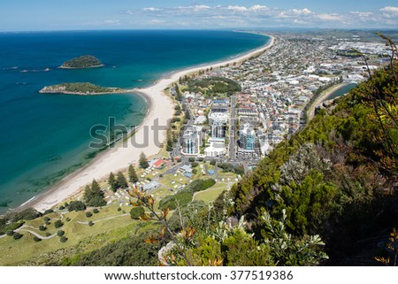 Omanu Beach viewed from the top of Mount Maunganui, Bay of Plenty, North Island New Zealand - stock photo