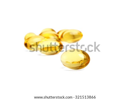 Omega 3 capsules from Fish Oil on white background