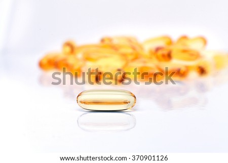 Omega 3 capsules from north Fish Oil on white background - stock photo