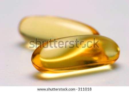 omega 3 fish oil health pills - stock photo