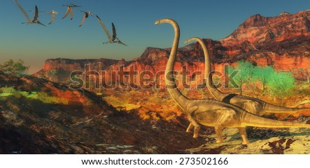 Omeisaurus Dinosaurs - A flock of Pterosaurs fly past two Omeisaurus dinosaurs during the Jurassic Era. - stock photo