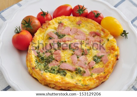 Omelet with ham - stock photo