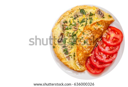 Omelet with mushrooms and cheese. top view. isolated on white