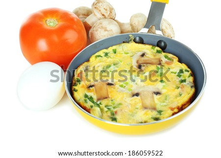 Omelet with mushrooms closeup