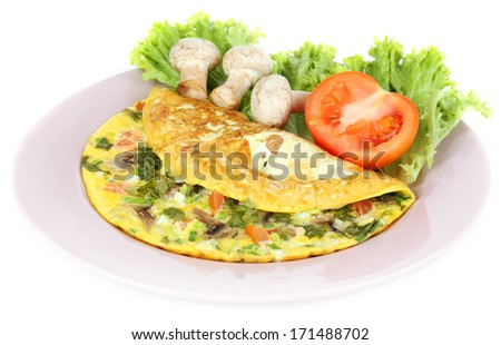 Omelet with mushrooms isolated on white - stock photo