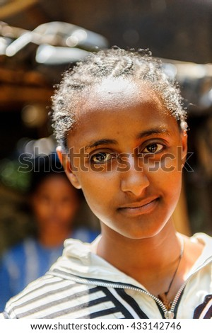 OMO VALLEY, ETHIOPIA - SEP 20, 2011: Portrait of an unidentified Ethiopian woman in Ethiopia, Sep.20, 2011. People in Ethiopia suffer of poverty due to the unstable situation - stock photo