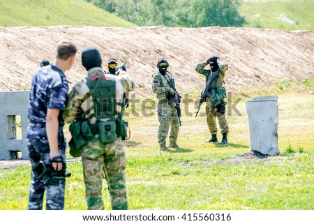 Omsk, Russia - July 1, 2015: military training - stock photo