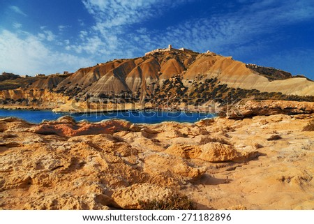 On a beautiful sunny day. Gozo Island, Malta.beach on Malta - Gozo. - stock photo