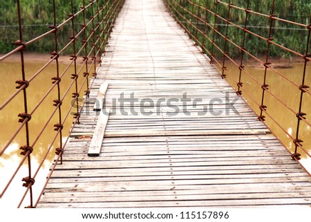 On a suspension bridge.