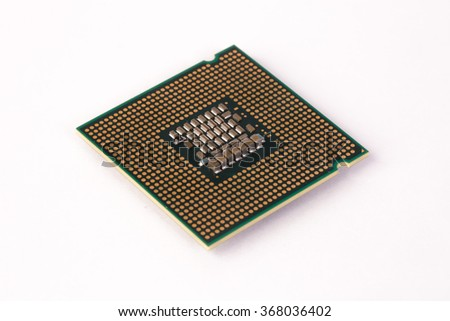 On a white background is a computer CPU-usage. The processor has a square shape.  It consists of a CPU core , cache memory , a coprocessor.