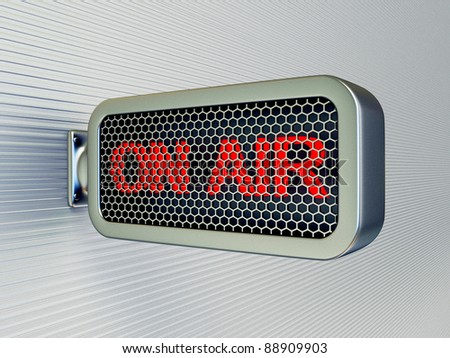 on air banner on a black wall  isolated - stock photo