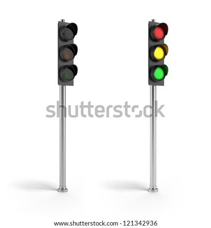 On and off traffic lights - stock photo
