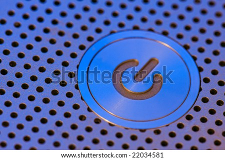 on button on a laptop computer - stock photo