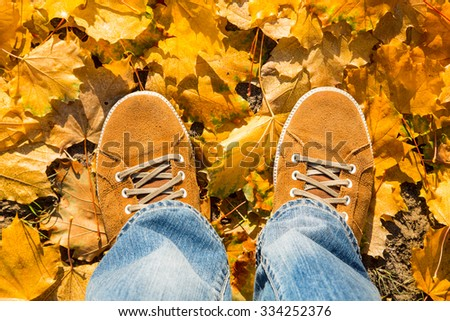on fallen autumn leaves yellow suede boots, top view - stock photo
