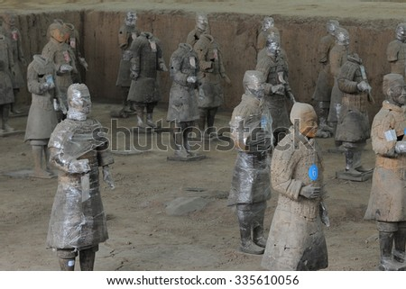 "On February 9, 2015, China, shaanxi, xi 'an lintong emperor qinshihuang terracotta warriors museum display. The Terra Cotta Warriors is known as ""the eighth wonder of the world""."