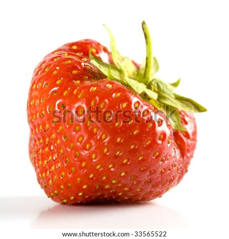on healthy fresh strawberry on a white background