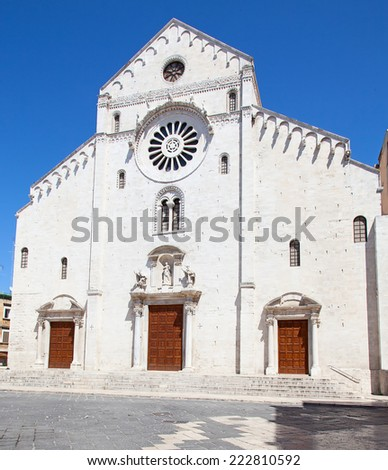 On if the ancient churches in Bari, Italy - stock photo